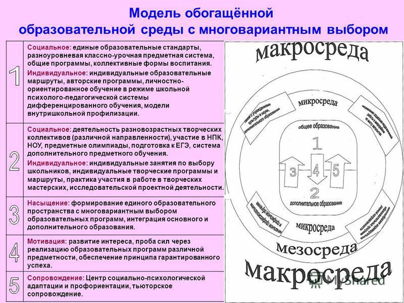 Модель обогащённой образовательной среды с многовариантным выбором 28 Социальное: единые образовательные стандарты, разноуровневая классно-урочная предметная система, общие программы, коллективные формы воспитания. Индивидуальное: индивидуальные обра