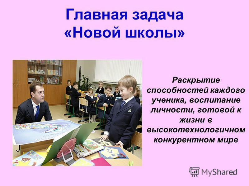 4 Главная задача «Новой школы» Раскрытие способностей каждого ученика, воспитание личности, готовой к жизни в высокотехнологичном конкурентном мире