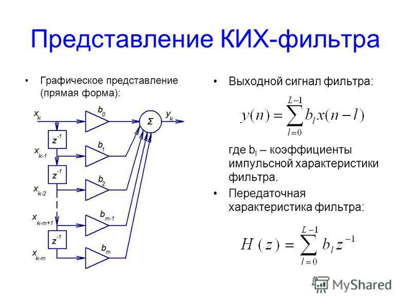Представление КИХ-фильтра Графическое представление (прямая форма): Выходной сигнал фильтра: где b l – коэффициенты импульсной характеристики фильтра. Передаточная характеристика фильтра: