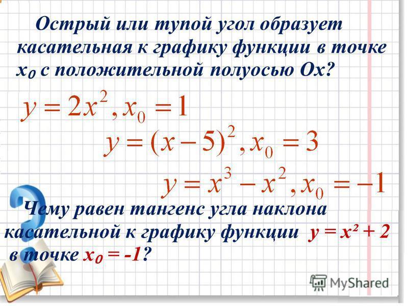 Острый или тупой угол образует касательная к графику функции в точке х с положительной полуосью Ох? Чему равен тангенс угла наклона касательной к графику функции y = x² + 2 в точке х = -1?