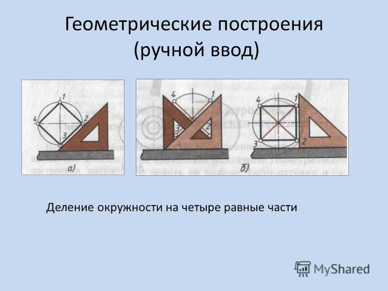 Геометрические построения (ручной ввод) Деление окружности на четыре равные части
