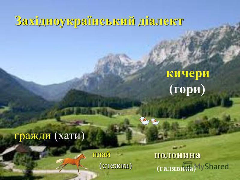 кичери (гори) полонина (галявина) гражди (хати) Західноукраїнський діалект плай (стежка) (стежка)