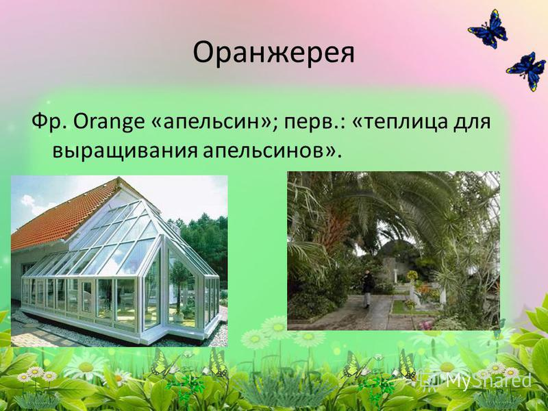 Фр. Оrange «апельсин»; перв.: «теплица для выращивания апельсинов». Оранжерея