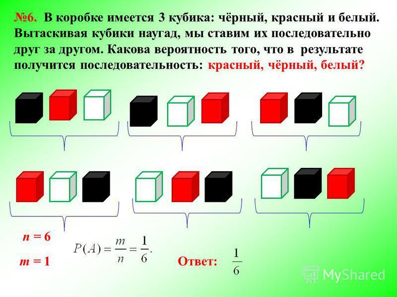 6. В коробке имеется 3 кубика: чёрный, красный и белый. Вытаскивая кубики наугад, мы ставим их последовательно друг за другом. Какова вероятность того, что в результате получится последовательность: красный, чёрный, белый? n = 6 m = 1Ответ: