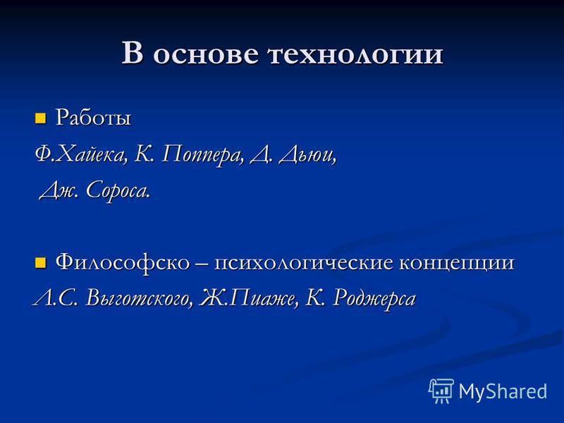 В основе технологии Работы Работы Ф.Хайека, К. Поппера, Д. Дьюи, Дж. Сороса. Дж. Сороса. Философско – психологические концепции Философско – психологические концепции Л.С. Выготского, Ж.Пиаже, К. Роджерса