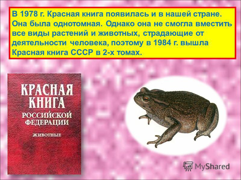 В 1978 г. Красная книга появилась и в нашей стране. Она была однотомная. Однако она не смогла вместить все виды растений и животных, страдающие от деятельности человека, поэтому в 1984 г. вышла Красная книга СССР в 2-х томах.