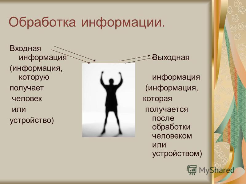 Обработка информации. Входная информация (информация, которую получает человек или устройство) Выходная информация (информация, которая получается после обработки человеком или устройством)