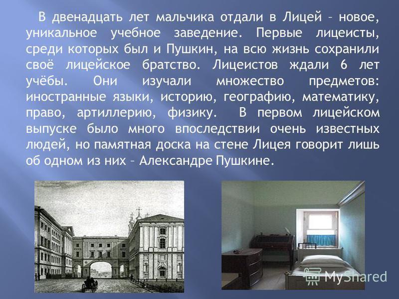 В двенадцать лет мальчика отдали в Лицей – новое, уникальное учебное заведение. Первые лицеисты, среди которых был и Пушкин, на всю жизнь сохранили своё лицейское братство. Лицеистов ждали 6 лет учёбы. Они изучали множество предметов: иностранные язы