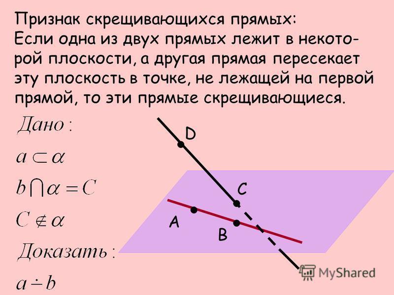 Признак скрещивающихся прямых: Если одна из двух прямых лежит в некоторой плоскости, а другая прямая пересекает эту плоскость в точке, не лежащей на первой прямой, то эти прямые скрещивающиеся. А В С D
