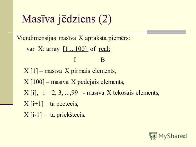 5 Masīva jēdziens (2) Viendimensijas masīva X apraksta piemērs: var X: array [1.. 100] of real; I B X [1] – masīva X pirmais elements, X [100] – masīva X pēdējais elements, X [i], i = 2, 3,...,99 - masīva X tekošais elements, X [i+1] – tā pēctecis, X
