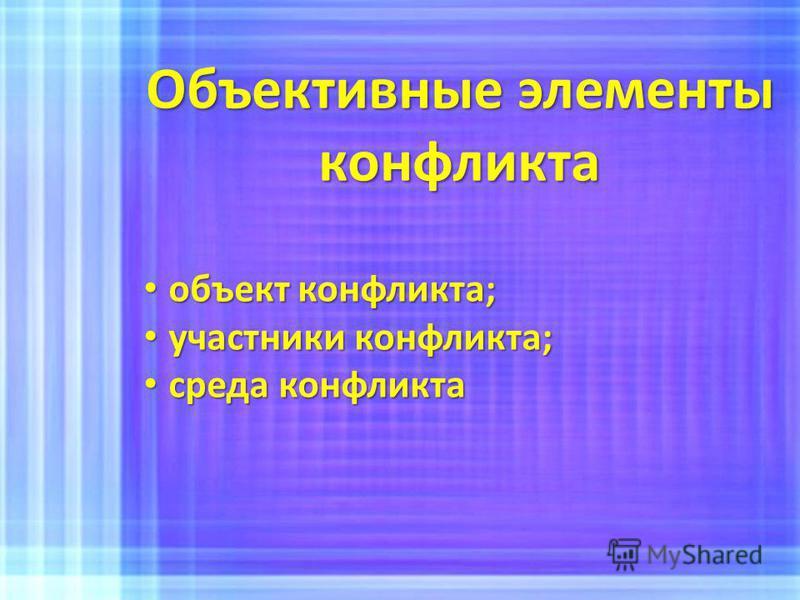 Объективные элементы конфликта объект конфликта; объект конфликта; участники конфликта; участники конфликта; среда конфликта среда конфликта