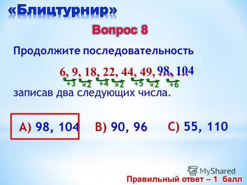 В) 90, 96А) 98, 104 C) 55, 110 Продолжите последовательность 6, 9, 18, 22, 44, 49, …, … записав два следующих числа. +3 ×2 +4 ×2 +5 ×2 98, 104 +6