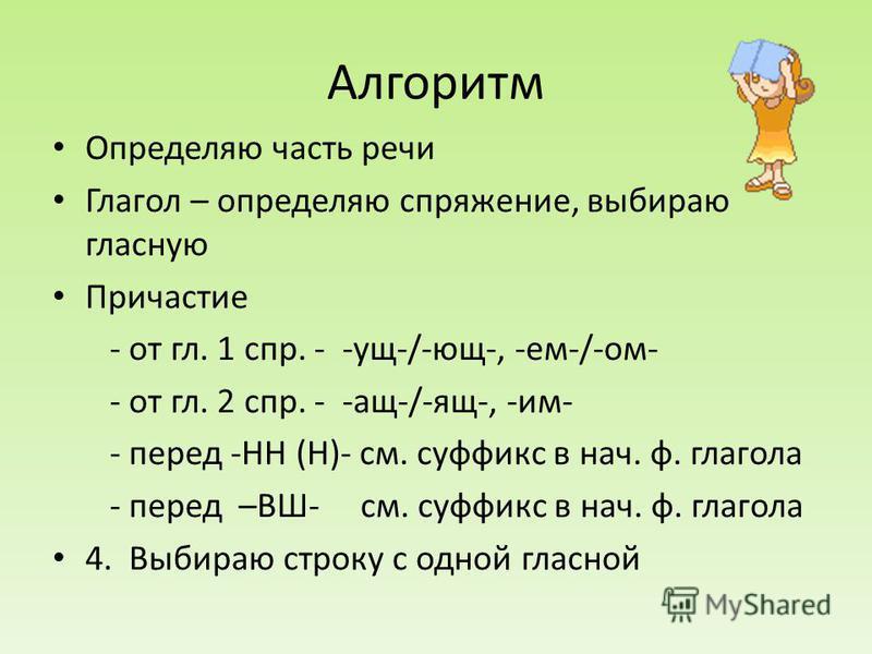 Алгоритм Определяю часть речи Глагол – определяю спряжение, выбираю гласную Причастие - от гл. 1 спр. - -ущ-/-ющ-, -ем-/-ом- - от гл. 2 спр. - -ащ-/-ящ-, -им- - перед -НН (Н)- см. суффикс в нач. ф. глагола - перед –ВШ- см. суффикс в нач. ф. глагола 4