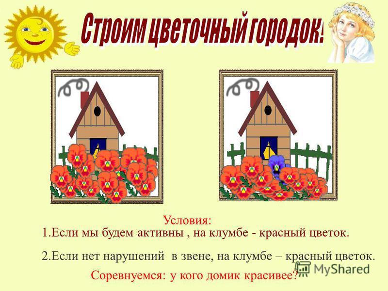 Соревнуемся: у кого домик красивее? Условия: 1. Если мы будем активны, на клумбе - красный цветок. 2. Если нет нарушений в звене, на клумбе – красный цветок.