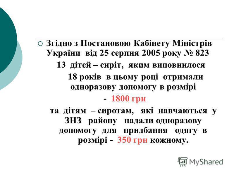Згідно з Постановою Кабінету Міністрів України від 25 серпня 2005 року 823 13 дітей – сиріт, яким виповнилося 18 років в цьому році отримали одноразову допомогу в розмірі - 1800 грн та дітям – сиротам, які навчаються у ЗНЗ району надали одноразову до
