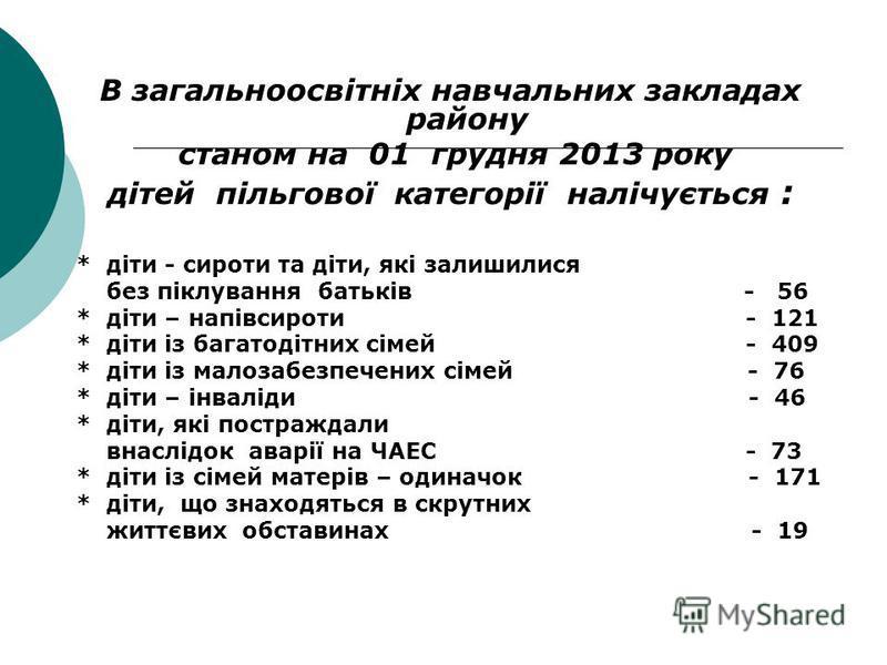 В загальноосвітніх навчальних закладах району станом на 01 грудня 2013 року дітей пільгової категорії налічується : * діти - сироти та діти, які залишилися без піклування батьків - 56 * діти – напівсироти - 121 * діти із багатодітних сімей - 409 * ді