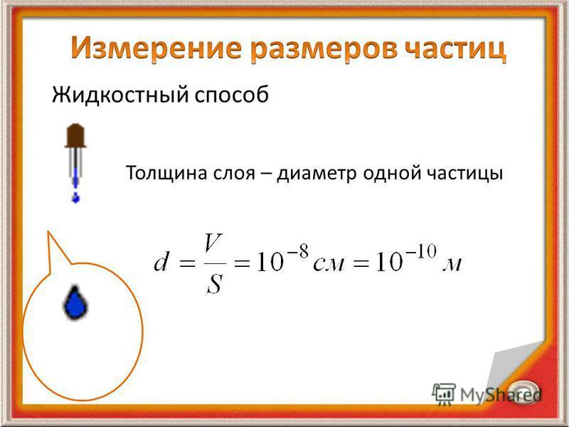 Жидкостный способ Толщина слоя – диаметр одной частицы