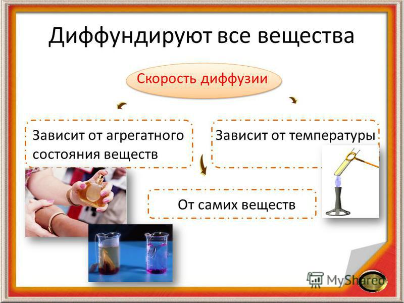 Диффундируют все вещества Скорость диффузии Зависит от агрегатного состояния веществ Зависит от температуры От самих веществ