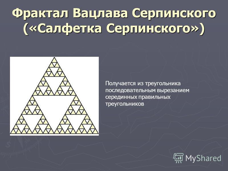 Фрактал Вацлава Серпинского («Салфетка Серпинского») Получается из треугольника последовательным вырезанием серединных правильных треугольников