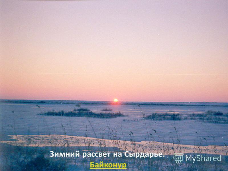 Зимний рассвет на Сырдарье. Байконур