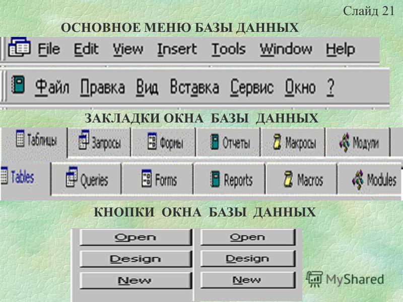 В окне базы данных можно работать со всеми ее объектами Для просмотра объектов определенного типа надо выбрать соответствующую закладку (Таблицы, Запросы, Формы и т.д.) С помощью кнопок справа можно открывать (ОТКРЫТЬ), изменять существующие объекты