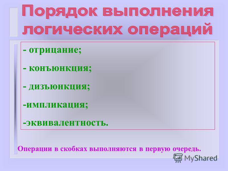 - отрицание; - конъюнкция; - дизъюнкция; -импликация; -эквивалентность. Операции в скобках выполняются в первую очередь.