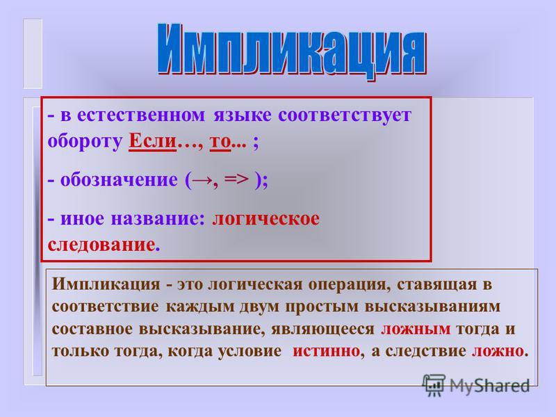 - в естественном языке соответствует обороту Если…, то... ; - обозначение (, => ); - иное название: логическое следование. Импликация - это логическая операция, ставящая в соответствие каждым двум простым высказываниям составное высказывание, являюще