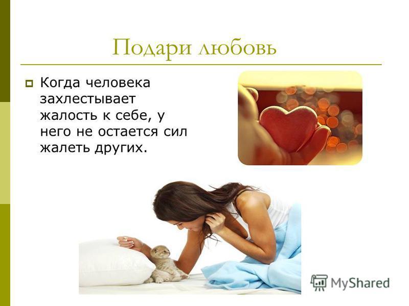 Подари любовь Когда человека захлестывает жалость к себе, у него не остается сил жалеть других.