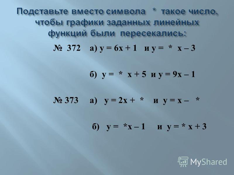 372 а ) у = 6 х + 1 и у = * х – 3 б ) у = * х + 5 и у = 9 х – 1 373 а ) у = 2 х + * и у = х – * б ) у = * х – 1 и у = * х + 3