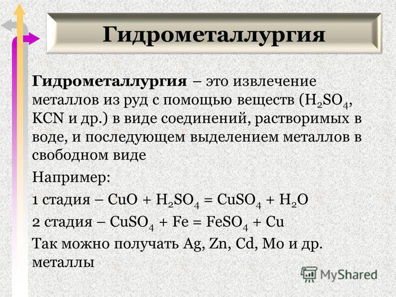 Гидрометаллургия Гидрометаллургия – это извлечение металлов из руд с помощью веществ (H 2 SO 4, KCN и др.) в виде соединений, растворимых в воде, и последующем выделением металлов в свободном виде Например: 1 стадия – CuO + H 2 SO 4 = CuSO 4 + H 2 O