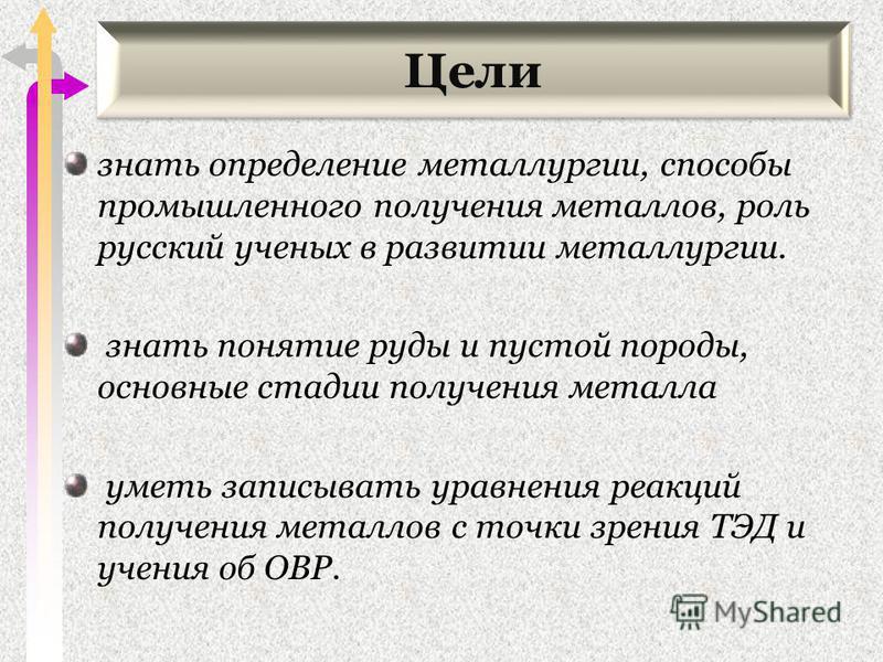 Цели знать определение металлургии, способы промышленного получения металлов, роль русский ученых в развитии металлургии. знать понятие руды и пустой породы, основные стадии получения металла уметь записывать уравнения реакций получения металлов с то