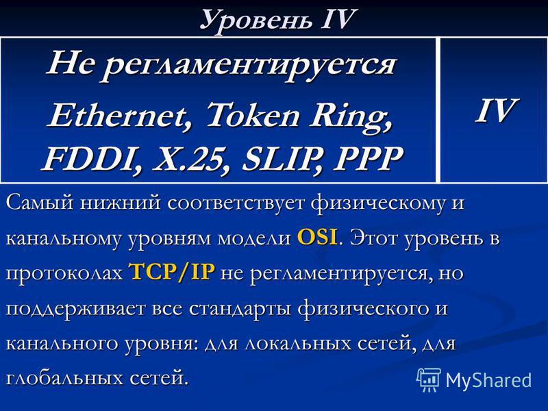 Уровень IV Самый нижний соответствует физическому и канальному уровням модели OSI. Этот уровень в протоколах TCP/IP не регламентируется, но поддерживает все стандарты физического и канального уровня: для локальных сетей, для глобальных сетей. Не регл