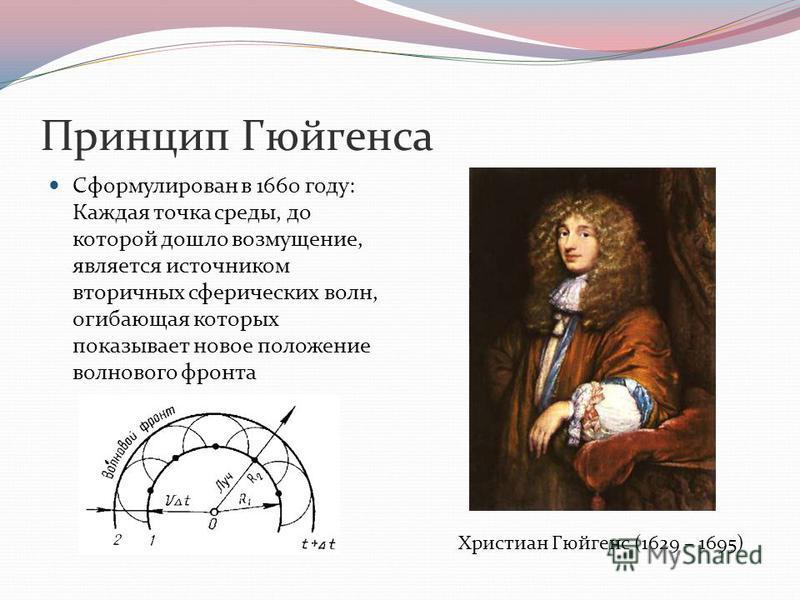 Принцип Гюйгенса Сформулирован в 1660 году: Каждая точка среды, до которой дошло возмущение, является источником вторичных сферических волн, огибающая которых показывает новое положение волнового фронта Христиан Гюйгенс (1629 – 1695)