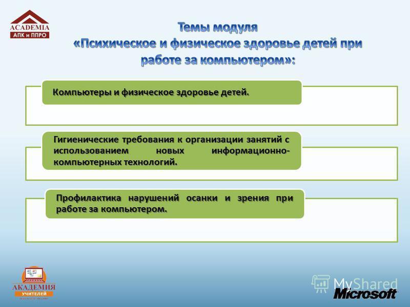 Компьютеры и физическое здоровье детей. Гигиенические требования к организации занятий с использованием новых информационно- компьютерных технологий. Профилактика нарушений осанки и зрения при работе за компьютером.