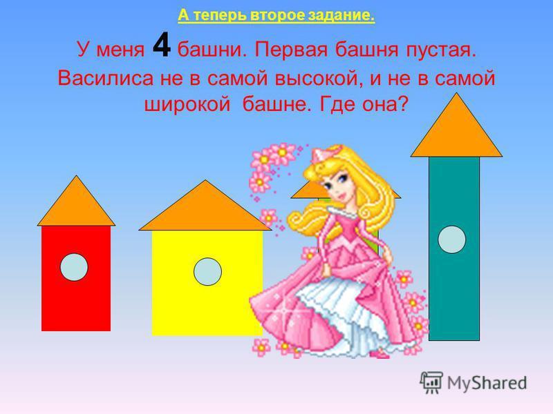 А теперь второе задание. У меня 4 башни. Первая башня пустая. Василиса не в самой высокой, и не в самой широкой башне. Где она?