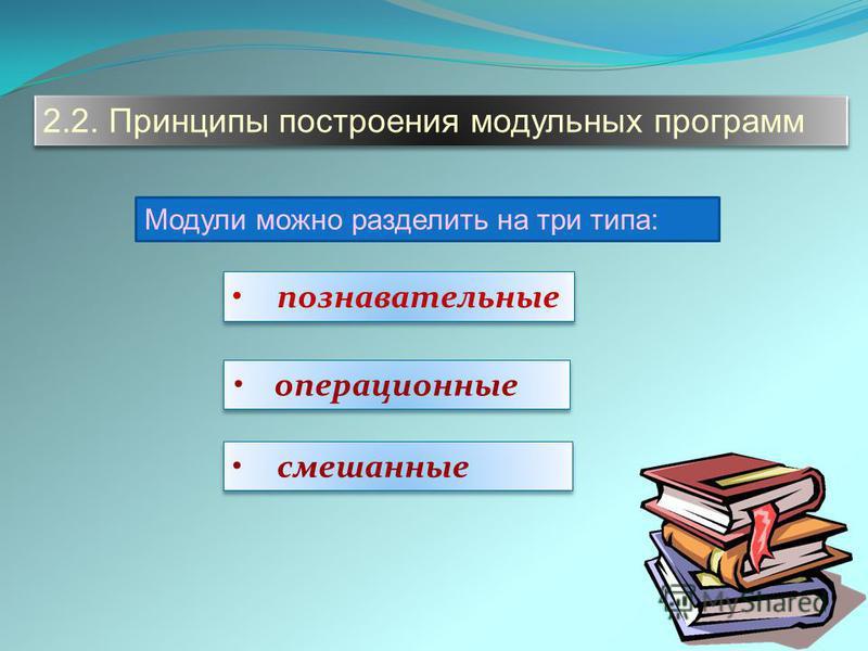 2.2. Принципы построения модульных программ Модули можно разделить на три типа: познавательные операционные смешанные
