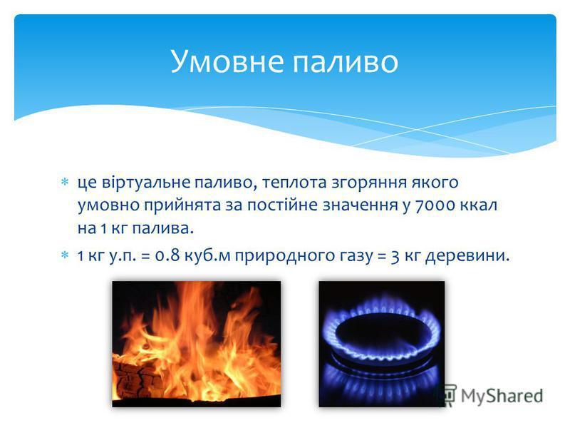 це віртуальне паливо, теплота згоряння якого умовно прийнята за постійне значення у 7000 ккал на 1 кг палива. 1 кг у.п. = 0.8 куб.м природного газу = 3 кг деревини. Умовне паливо