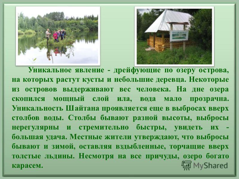Уникальное явление - дрейфующие по озеру острова, на которых растут кусты и небольшие деревца. Некоторые из островов выдерживают вес человека. На дне озера скопился мощный слой ила, вода мало прозрачна. Уникальность Шайтана проявляется еще в выбросах