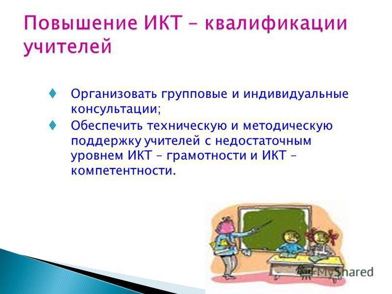 Организовать групповые и индивидуальные консультации; Обеспечить техническую и методическую поддержку учителей с недостаточным уровнем ИКТ – грамотности и ИКТ – компетентности.