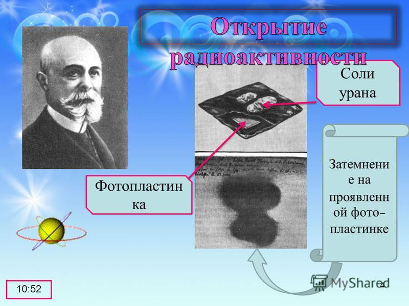Соли урана Фотопластин ка Затемнени е на проявлен ой фото- пластинке 10:53 4