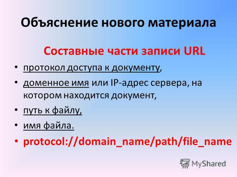 Объяснение нового материала Составные части записи URL протокол доступа к документу, доменное имя или IP-адрес сервера, на котором находится документ, путь к файлу, имя файла. protocol://domain_name/path/file_name
