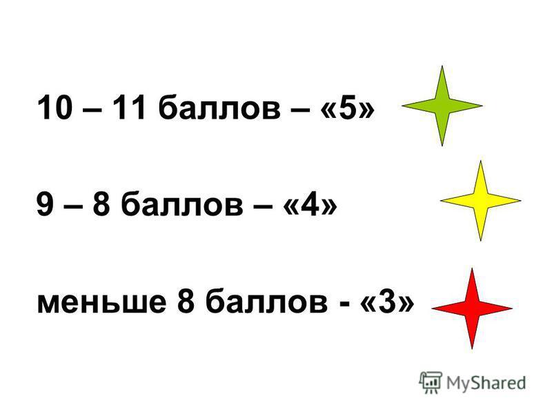 10 – 11 баллов – «5» 9 – 8 баллов – «4» меньше 8 баллов - «3»