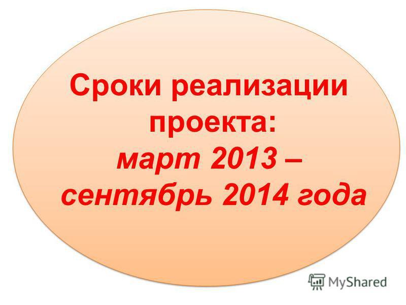 Сроки реализации проекта: март 2013 – сентябрь 2014 года