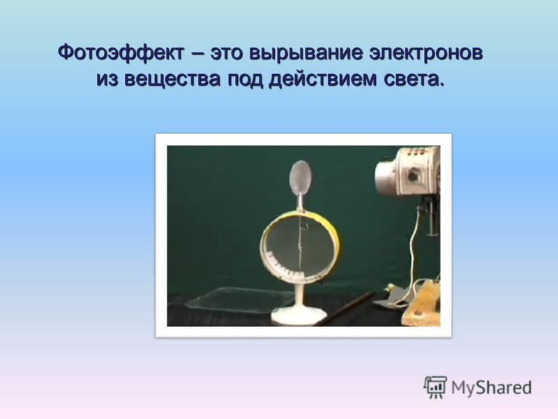 Фотоэффект – это вырывание электронов из вещества под действием света.
