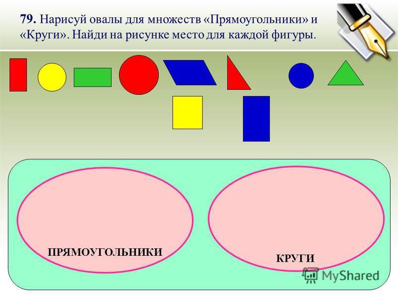 79. Нарисуй овалы для множеств «Прямоугольники» и «Круги». Найди на рисунке место для каждой фигуры. ПРЯМОУГОЛЬНИКИ КРУГИ
