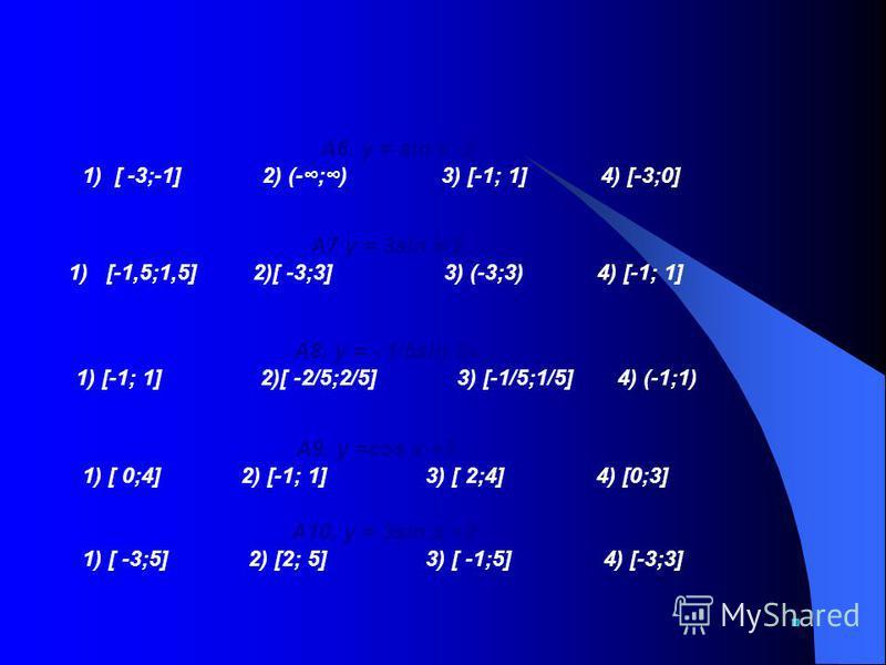 Найдите область значений функции А1. у =7cos x 1 ) (-;) 2)[ 0;7] 3) [-1; 1] 4) [-7;7] А2. у =-4cos x 1) [-1; 1] 2)[ -4;0] 3) [-4;4] 4) (-;) А3. y = 9sin х 1) [-1; 1] 2)[ 8;10] 3) [-9; 9] 4) [0;9] А4. у =cos 2x 1) [-1/2; 1/2] 2)[ 0;2] 3) [-2; 2] 4) [-