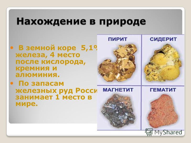 Нахождение в природе В земной коре 5,1% железа, 4 место после кислорода, кремния и алюминия. По запасам железных руд Россия занимает 1 место в мире.