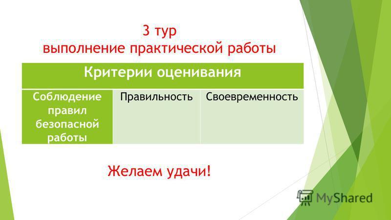 3 тур выполнение практической работы Желаем удачи! Критерии оценивания Соблюдение правил безопасной работы Правильность Своевременность