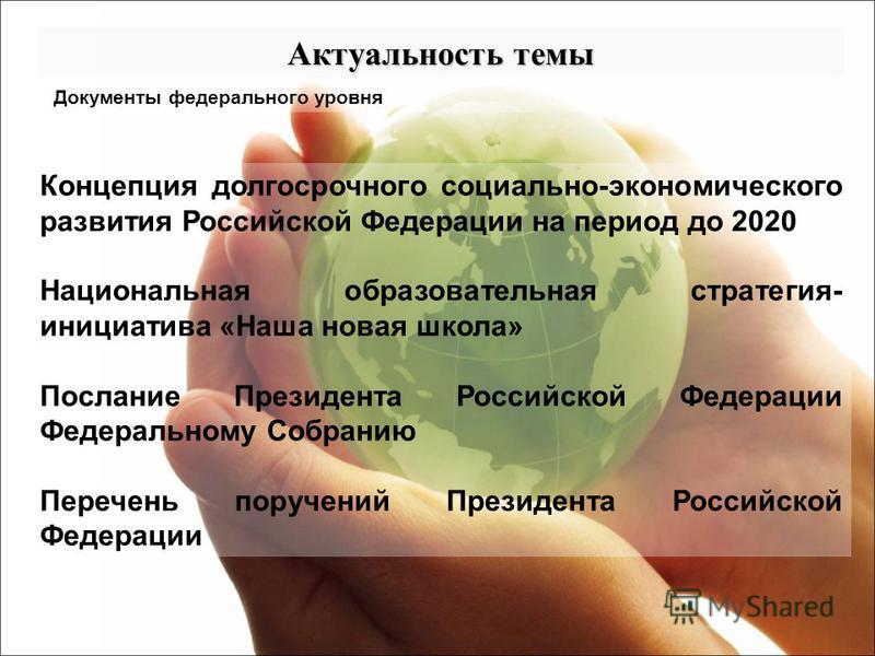 Документы федерального уровня Концепция долгосрочного социально-экономического развития Российской Федерации на период до 2020 Национальная образовательная стратегия- инициатива «Наша новая школа» Послание Президента Российской Федерации Федеральному