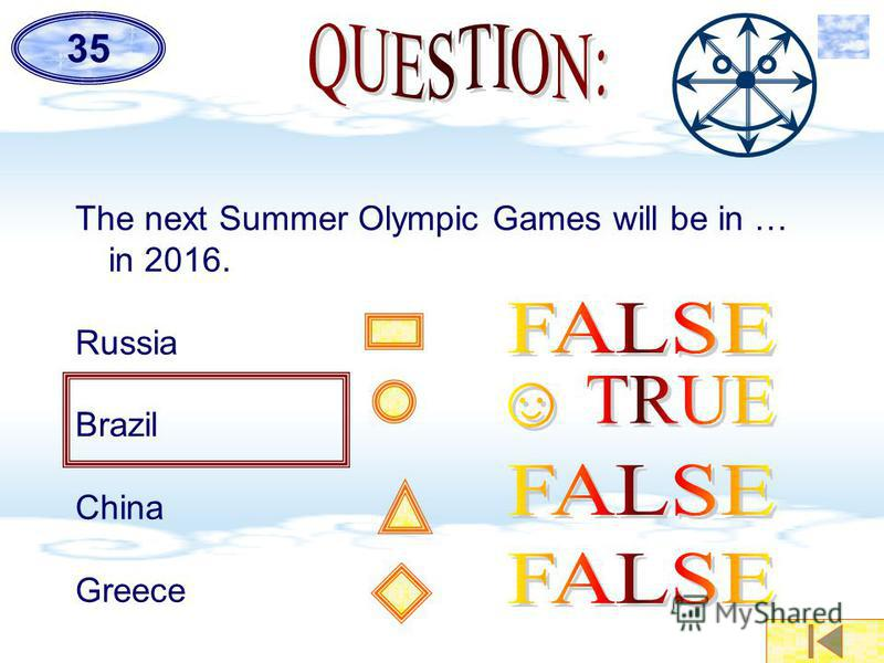 The next Summer Olympic Games will be in … in 2016. Russia Brazil China Greece 35